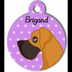 Médaille personnalisée violet chien caramel et marron poils courts