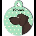 Médaille personnalisée vert chien marron foncé poils courts