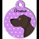 Médaille personnalisée violet chien marron foncé poils courts