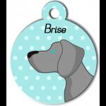 Médaille personnalisée bleu chien gris clair poils courts