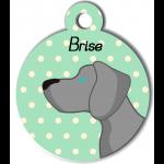 Médaille personnalisée vert chien gris clair poils courts