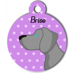 Médaille personnalisée violet chien gris clair poils courts