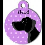 Médaille personnalisée violet chien noir poils courts