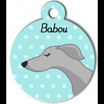 Médaille personnalisée bleu chien fin gris