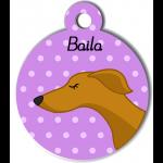 Médaille personnalisée violet chien fin caramel