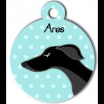 Médaille personnalisée bleu chien fin noir