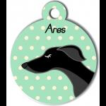 Médaille personnalisée vert chien fin noir