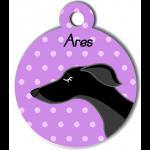 Médaille personnalisée violet chien fin noir