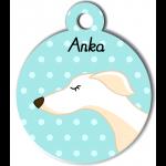 Médaille personnalisée bleu chien fin blanc