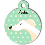 Médaille personnalisée vert chien fin blanc