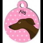 Médaille personnalisée rose chien fin marron foncé
