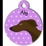 Médaille personnalisée violet chien fin marron foncé
